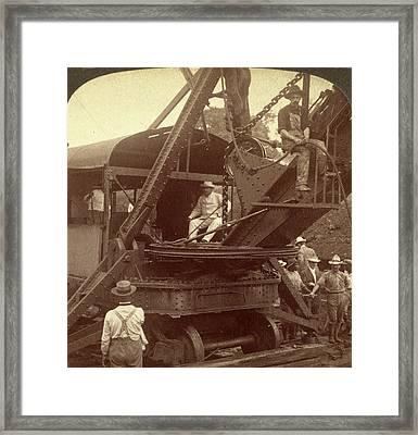 President Roosevelt Running An American Steam-shovel Framed Print by Litz Collection