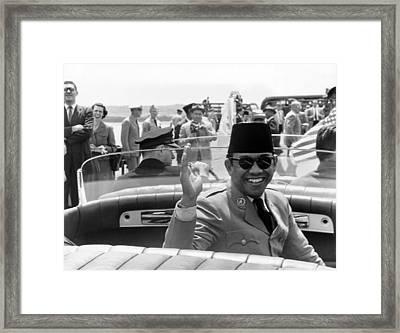 President Sukarno Of Indonesia Framed Print by Warren Leffler