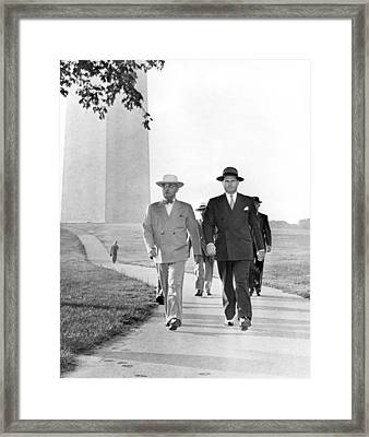 President Truman On A Walk Framed Print
