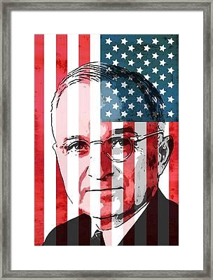 President Truman On American Flag Framed Print