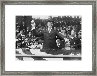 President Wilson Opens Season Framed Print by Underwood Archives
