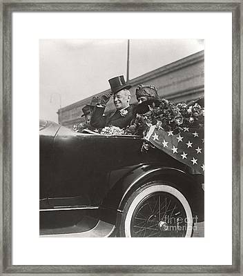 Framed Print featuring the photograph President Woodrow Wilson 1919 by Martin Konopacki Restoration