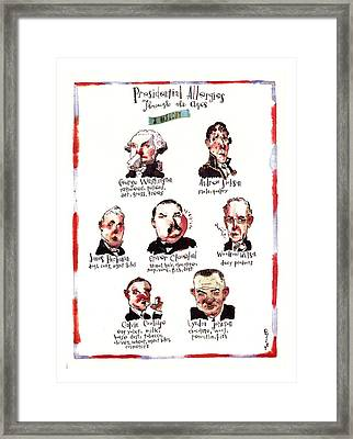 Presidential Allergies Through The Ages: Framed Print by Barry Blitt