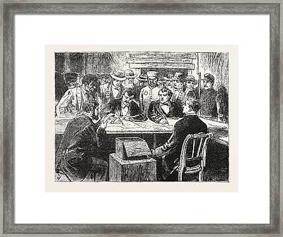 Presidential Election, Counting The Votes, Engraving 1876 Framed Print by American School