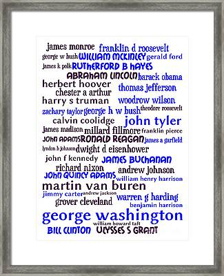 Presidents Of The United States 20130625whi Framed Print by Wingsdomain Art and Photography