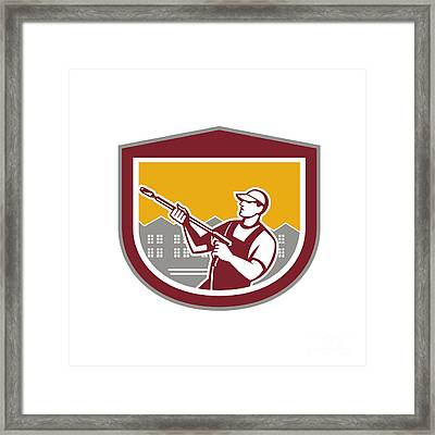Pressure Washer Clleaner Worker Retro Shield Framed Print