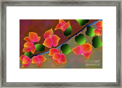 Framed Print featuring the digital art Pretty Bougainvillea by Latha Gokuldas Panicker