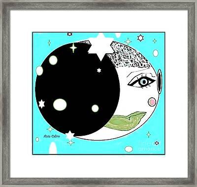Framed Print featuring the digital art Pretty Cheeky by Ann Calvo