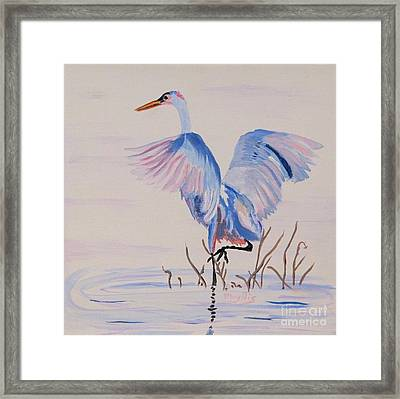 Framed Print featuring the painting Pretty Crane by Phyllis Kaltenbach