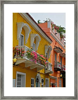Pretty Dwellings In Old-town Cartagena Framed Print