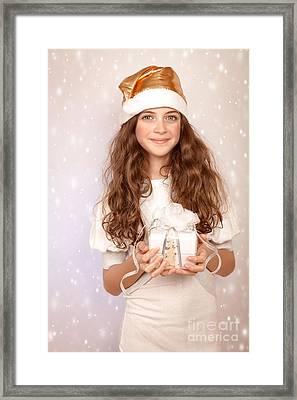 Pretty Girl Holding Gift Box Framed Print