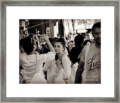 Pretty Girl In The Crowd - Times Square - New York Framed Print by Miriam Danar