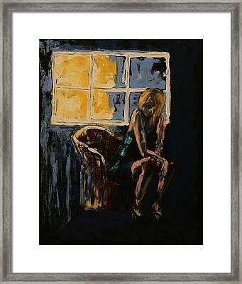 Pretty Girl Sits Alone Framed Print