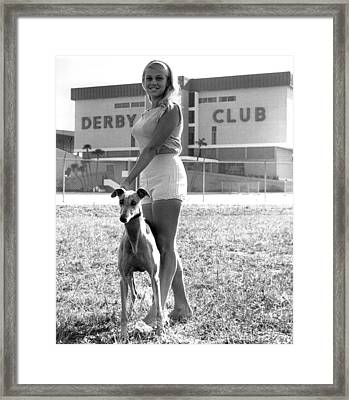 Pretty Girl With Greyhound Framed Print by Retro Images Archive