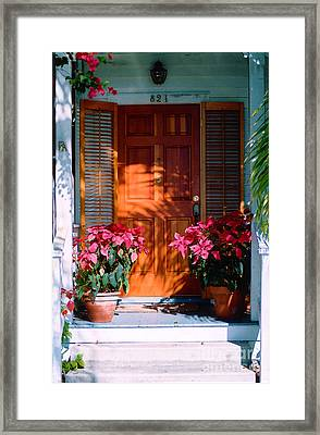 Pretty House Door In Key West Framed Print by Susanne Van Hulst
