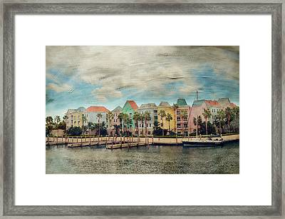 Pretty Houses All In A Row Nassau Framed Print by Kathy Jennings