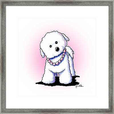 Pretty In Pearls Bichon Frise Framed Print