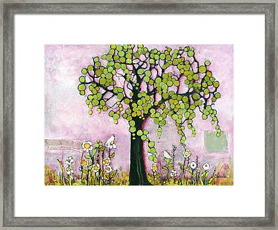 Pretty In Pink Paradise Tree Framed Print by Blenda Studio