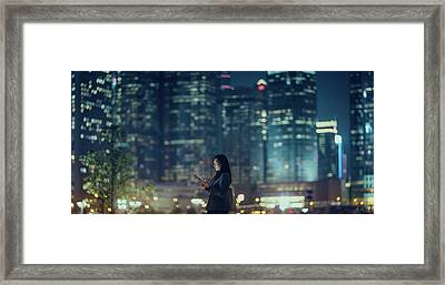 Pretty Office Lady Is Using Tablet In Framed Print by D3sign