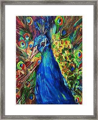 Pretty Peacock Framed Print by Sherri Trout