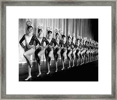 Pretty Rockettes In Dance Line At Radio City Music Hall Framed Print