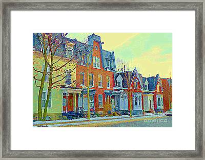 Pretty Row Houses Suburban Sidestreet Winter Pointe St Charles Montreal Art City Scenes C Spandau Framed Print by Carole Spandau