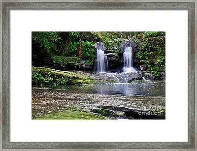 Pretty Waterfalls In Rainforest Framed Print by Kaye Menner
