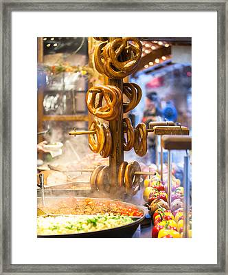 Pretzels And Food At German Christmas Market Framed Print by Susan Schmitz