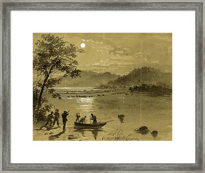 Previous To Antietam Rebels Crossing The Potomac Framed Print by Quint Lox