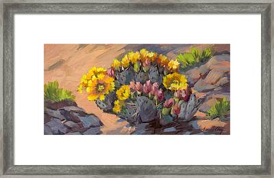 Prickly Pear Cactus In Bloom Framed Print by Diane McClary