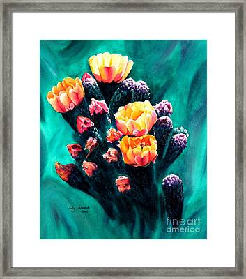 Prickly Pear Cactus Painting Framed Print by Judy Filarecki