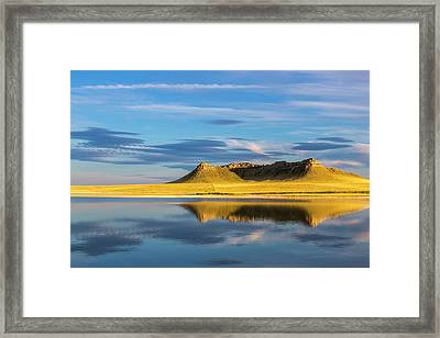 Priest Butte Reflects Into Wetlands Framed Print by Chuck Haney