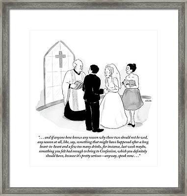 Priest Marries Man And Woman In Front Of A Large Framed Print