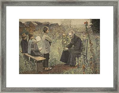 Priest Teaching Children The Catechism Framed Print by Jules-Alexis Meunier