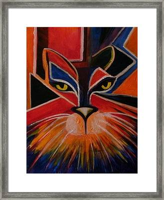 Primary Cat Framed Print by Carolyn LeGrand