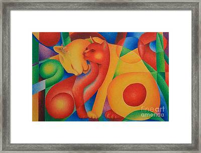 Primary Cats Framed Print by Pamela Clements