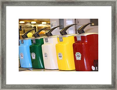 Primary Colors Of Condiments Framed Print by Kym Backland