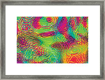 Primary Ripples In Green Framed Print