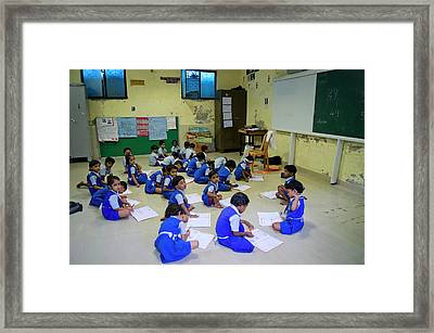Primary School In Mumbai Framed Print by Mark Williamson