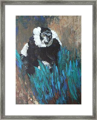 Framed Print featuring the painting Primate Of The Madagascan Rainforest by Margaret Saheed