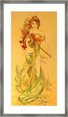 Primavera After Mucha Framed Print