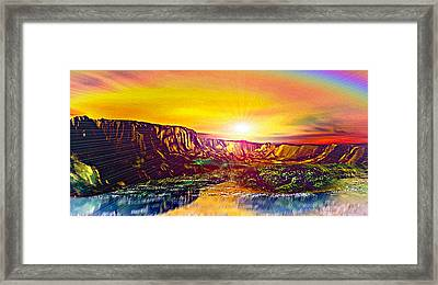 Rainbow Dawn Over Primeval Tide  Life Begins V3 Framed Print by Rebecca Phillips