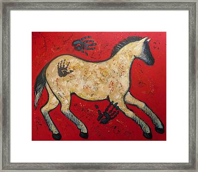 Primitive Modern Cave Art Horse Framed Print by Carol Suzanne Niebuhr