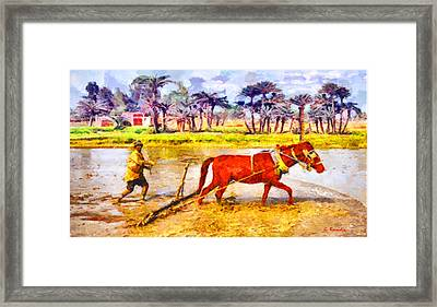 Primitive Plow Framed Print