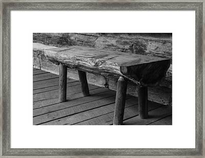 Framed Print featuring the photograph Primitive Wooden Bench by Robert Hebert