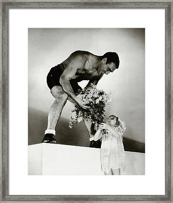 Primo Carnera Receiving Flowers From A Little Framed Print by Edward Steichen