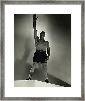 Primo Carnera Saluting Framed Print