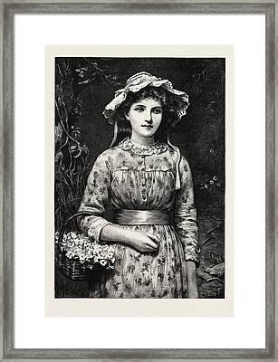Primrose Day, Girl Framed Print by English School