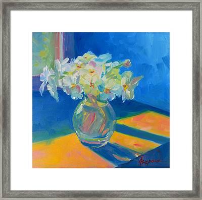 Primroses In Spring Light - Still Life Framed Print