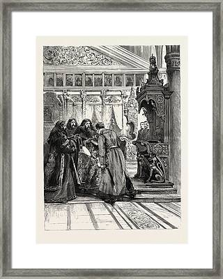 Prince Ferdinand Of Bulgaria  Attending Service Framed Print by Bulgarian School